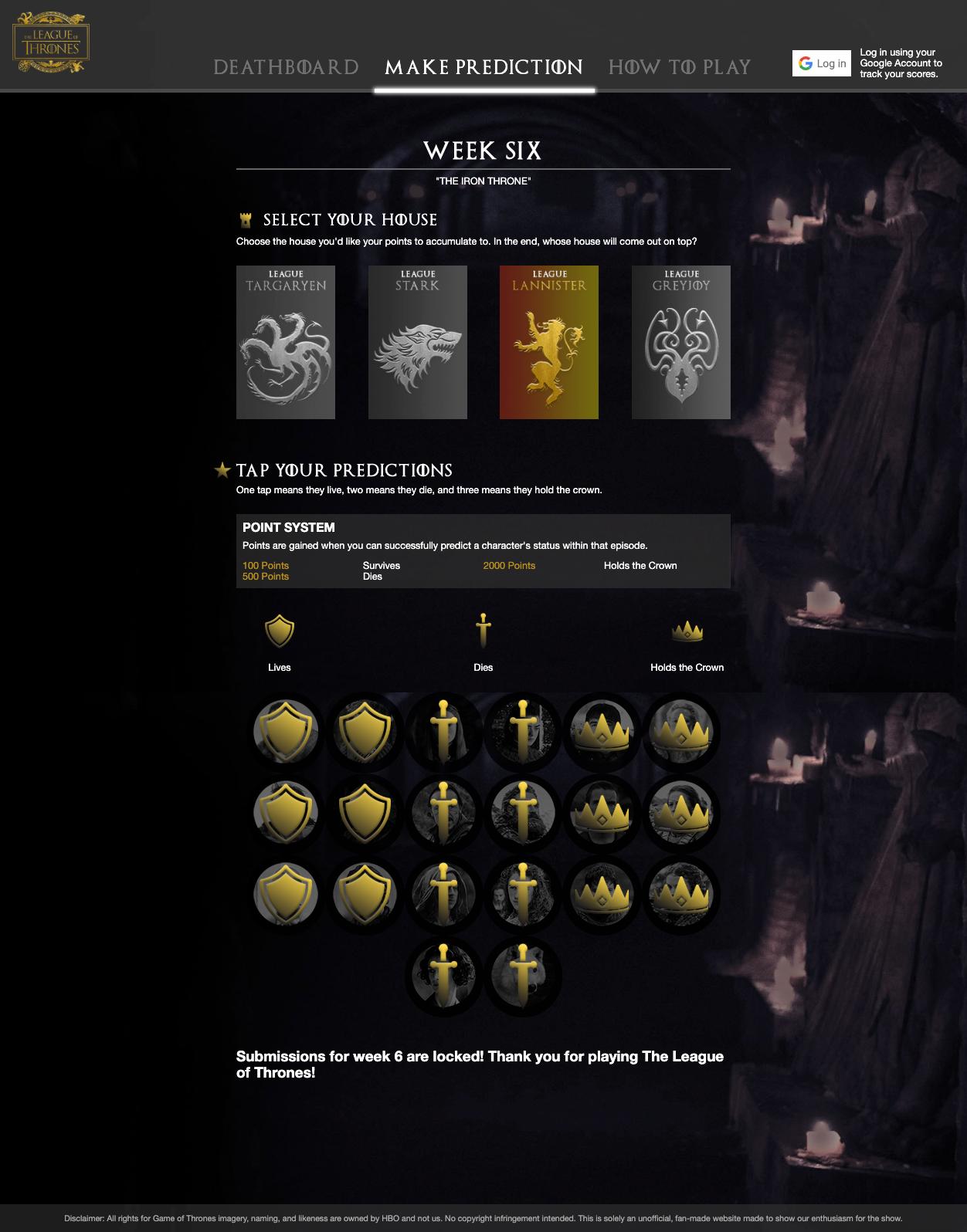 League of Thrones Unofficial Final Season Fantasy League 5