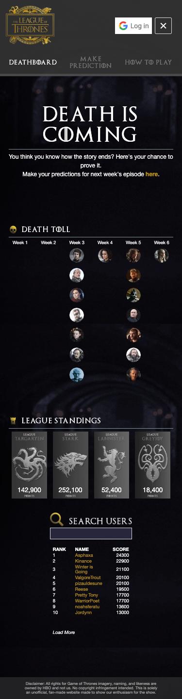 League of Thrones Unofficial Final Season Fantasy League 7
