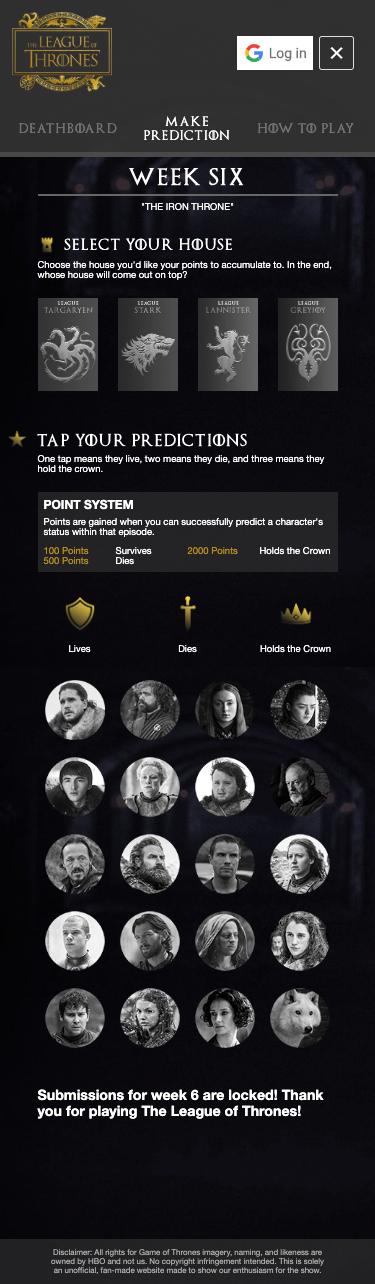 League of Thrones Unofficial Final Season Fantasy League 8